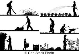 ... Gardening foreground silhouettes - Set of eps8 editable.