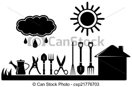 gardening tools set on farm landscaping - black isolated... ...