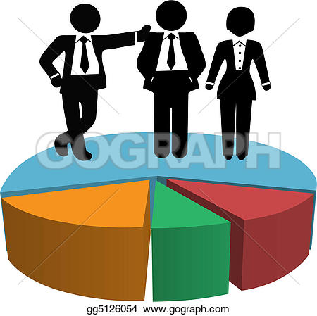 Gear Machine Growth Rocket u0026middot; Business People Sales Team on Profit Growth Pie Chart