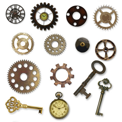 ... gears clocks and keys clip; steampunk clipart and backgrounds ...