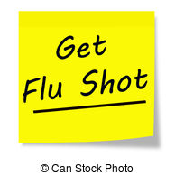 Get Flu Shot written on a yellow square sticky note pad.