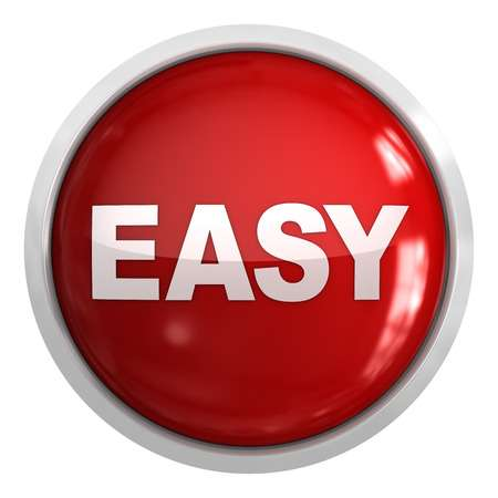 Easy button , isolated on white. Stock Photo