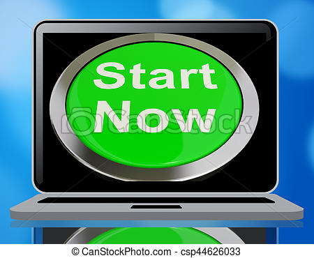 Start Now Button Meaning To Commence 3d Rendering - csp44626033