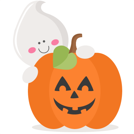 Ghost With Pumpkin SVG . - Cute Ghost Clipart