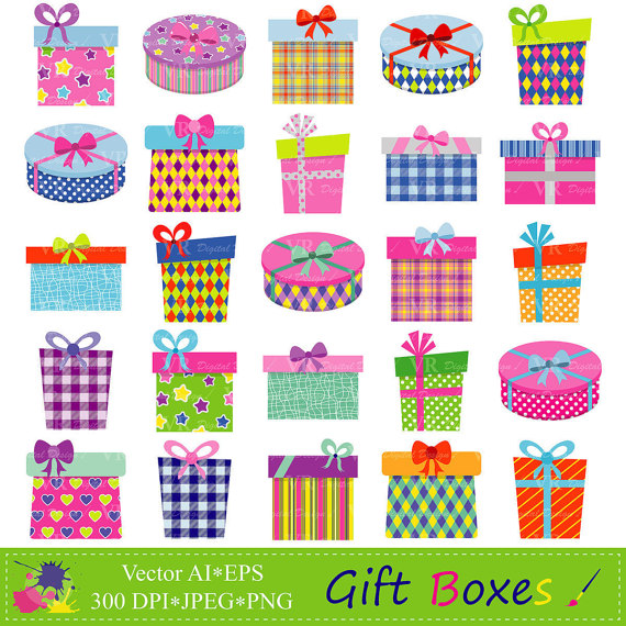 Gift Boxes Clipart, Gifts Clipart, Presents Clip Art, Birthday Party  Presents Clip Art, Digital Download Vector Clip Art from VRDigitalDesign on  Etsy Studio