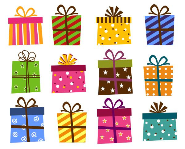 Giftbox Clip Art, Present Boxes Clip Art, Instant Download, Birthday Holiday Gift Box - YDC123