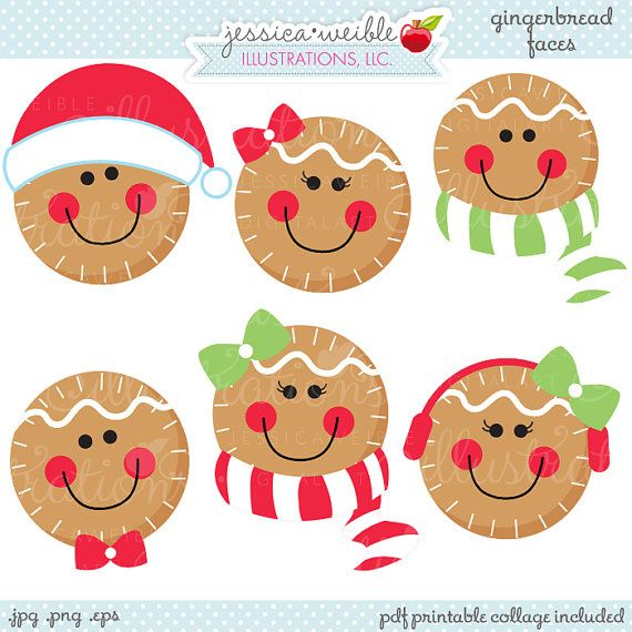 Gingerbread Faces Cute Christmas Digital Clipart