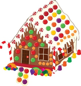 Gingerbread House and Man . Clip art illustration of