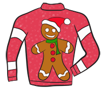Gingerbread Man Clipart - Ugly Christmas Sweater Clipart