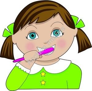 girl brushing teeth clipart