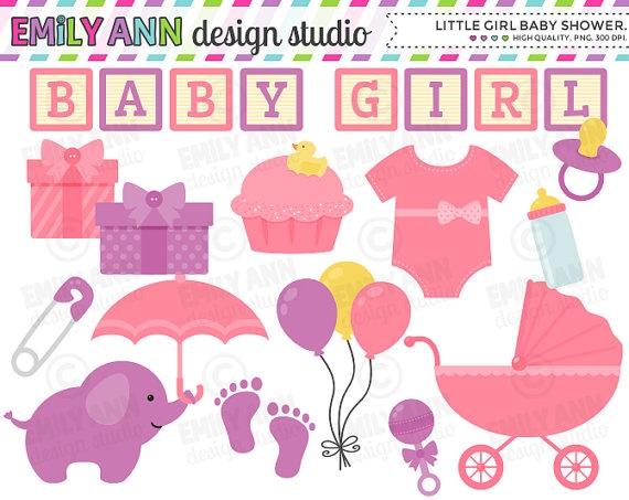 Girl Baby Shower Cute Clip Art onesie by emilyanndesignstudio, $5.00