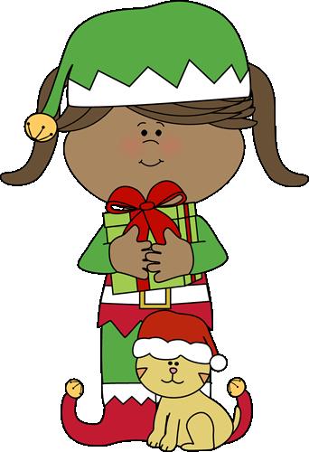 Girl Christmas Elf With Christmas Cat Clip Art Girl Christmas Elf