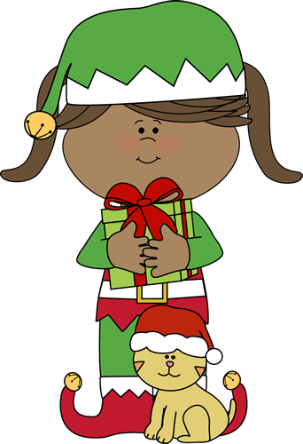 Girl Christmas Elf with Chris - Cute Christmas Clip Art