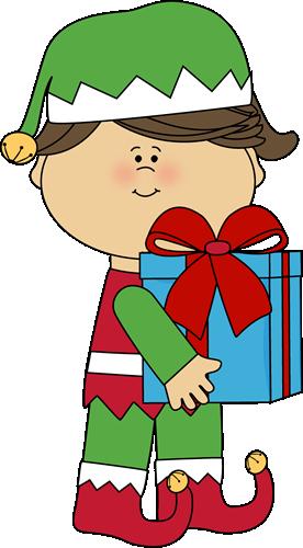 Girl Christmas Elf With Gift-Girl Christmas Elf with Gift-17