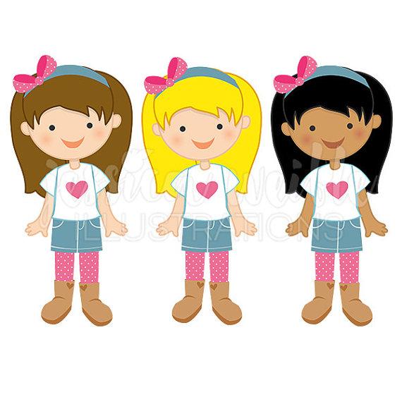 Little Denim Girl Cute Digital Clipart, Cute Girl in Denim Skirt Clip art,  Little Girl Graphics, Cute Girl in Skirt Illustration, #255