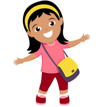 Smiling Cute Girl With Her Bag Pack Back To School Clipart Size: 79 Kb