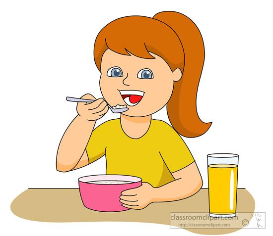 Girl Eating Breakfast Cereal 831 Jpg