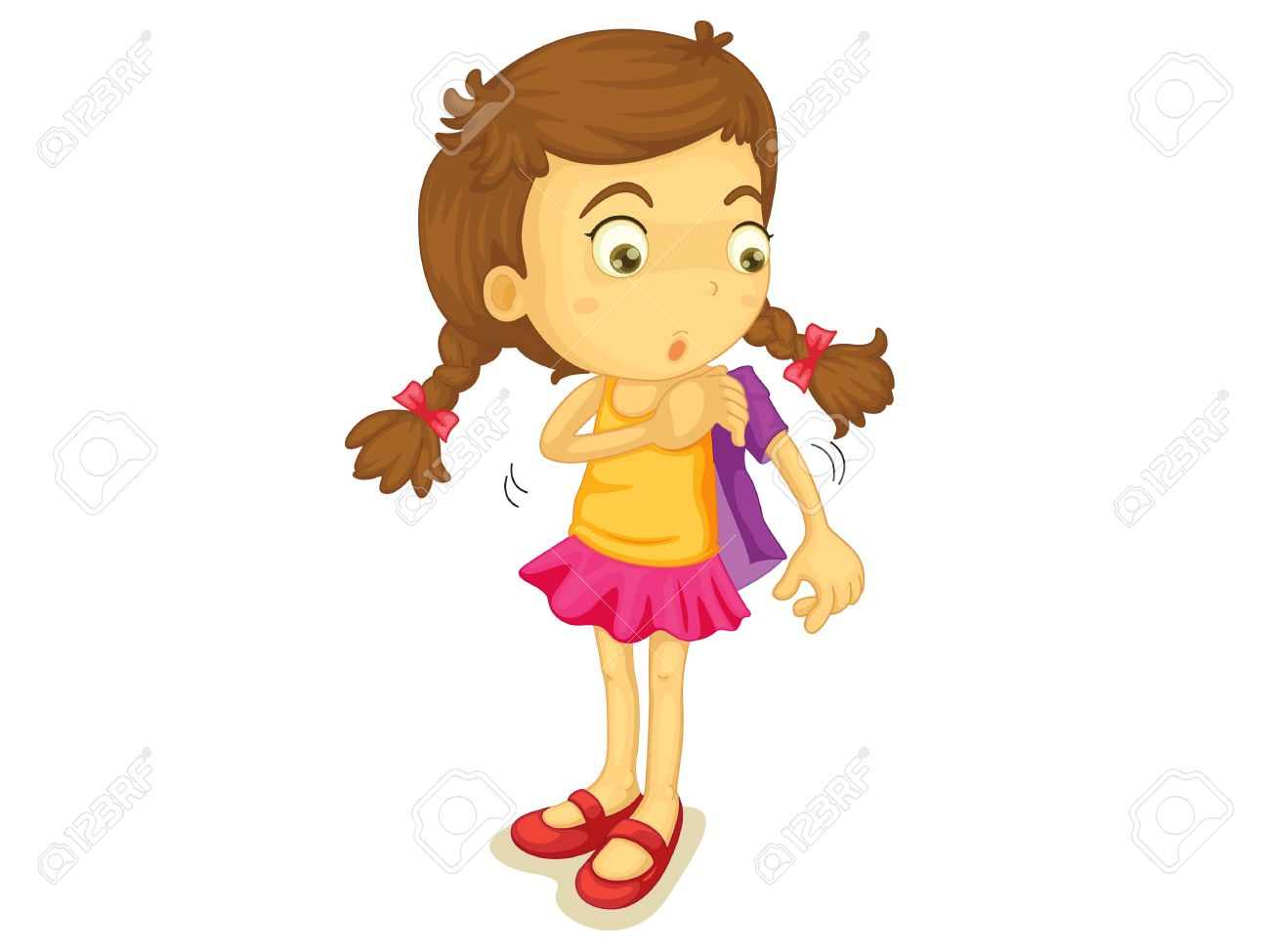 Girl Getting Dressed Clipart