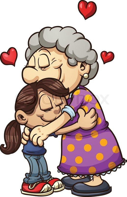 Girl Hugging Her Grandmother Vector Clip Art Illustration With