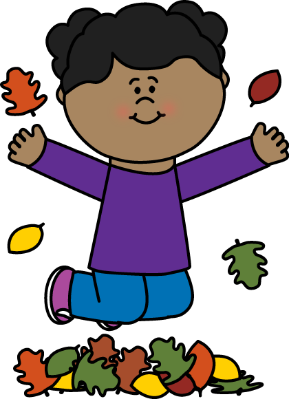 Girl Jumping In Leaves Clip Art Image Little Girl Jumping In A Pile