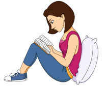 Girl Leaning Against Pillow Reading Book Clipart Size: 81 Kb