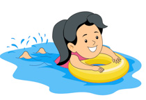 Girl Learning Swimming Holing Inner Tube-Girl Learning Swimming Holing Inner Tube Clipart Size: 88 Kb-10