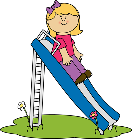 Girl on a Slide Clip Art