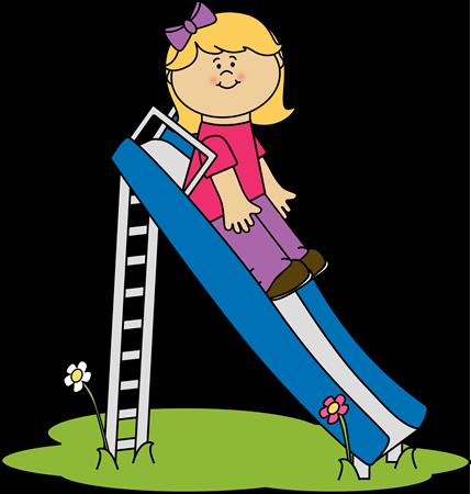 Girl on a Slide Clip Art