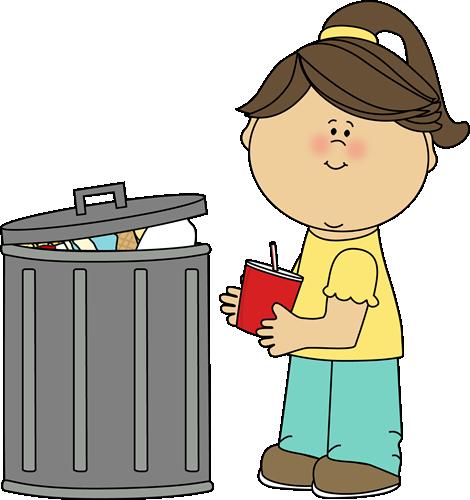 Girl Picking Up Trash Clip Ar - Trash Clip Art