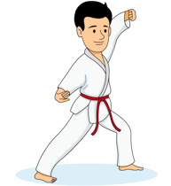 Girl Practicing Karate Kick C - Martial Arts Clipart