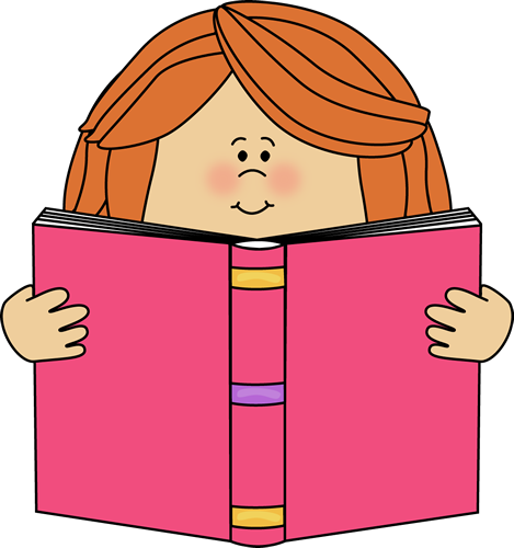 Girl Reading a Book Clip Art - Reading Books Clipart