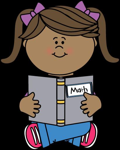 Girl Reading a Math Book