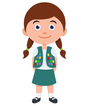 Girl Scout Leader In Uniform  - Clipart Of Girl