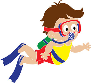 Girl Scuba Diving Clipart #1