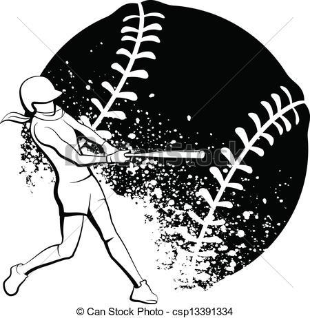 Girl Softball Batter - Black and White vector illustration.