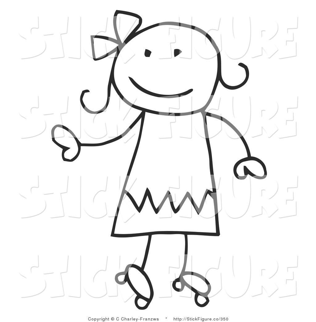 Girl Stick Figure Running Cli - Stick Figures Clip Art