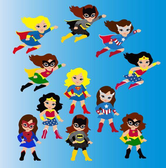 Girl Superhero Clip Art / Little Girls S-Girl Superhero Clip Art / Little Girls Superheroes / Supergirls Digital Clipart / Cute Super hero girls Clipart for commercial use | Pinterest | Clip art, ...-8