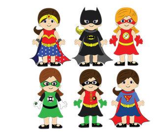 Girl Superhero - Superhero Clip Art - Di-Girl Superhero - Superhero Clip Art - Digital Clipart - PNG - JPG - Hand Drawn - Limited Commercial - Instant Download - Digital Stamp-11