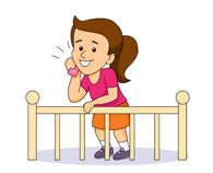 girl talking on phone leaning on railing. Size: 52 Kb