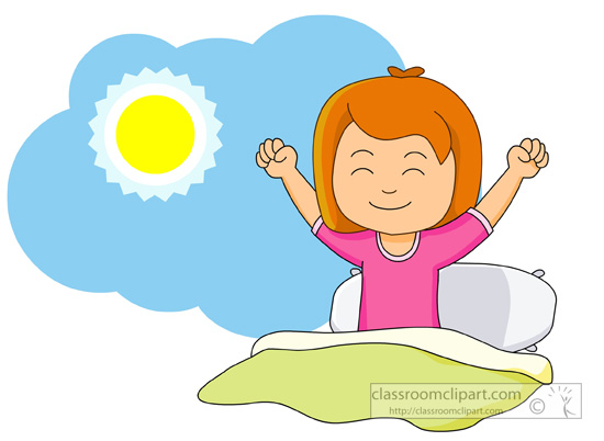 Girl Waking Up And Stretching In The Morning Classroom Clipart
