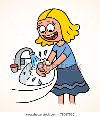 Girl Washing Hands Clipart - .-Girl washing hands clipart - .-4