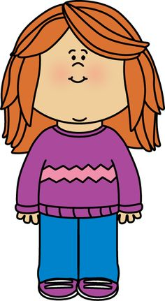 Girl Wearing a Sweater Clip Art - Girl Wearing a Sweater Image
