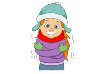 girl wearing winter clothes shivering in cold clipart. Size: 83 Kb