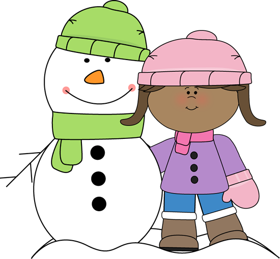 Girl with Snowman - Free Clip Art Winter