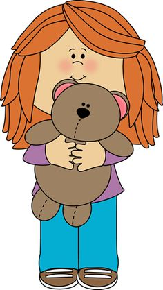 Girl with Teddy Bear Clip Art - Girl with Teddy Bear Image