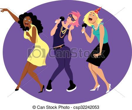 ... Girlsu0026#39; Night Out - Three You-... Girlsu0026#39; night out - Three young funny woman singing karaoke.-17