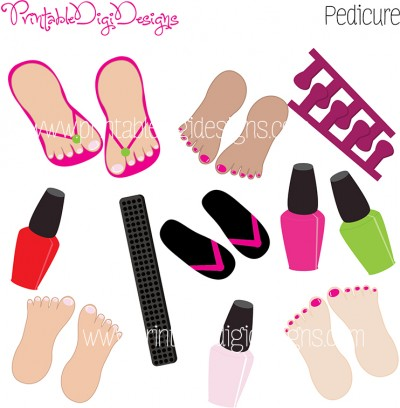 Girls Beauty Pedicure Pedi Graphics Clipart Set