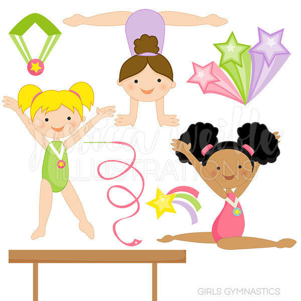 Girls Gymnastics Cute Digital Clipart fo-Girls Gymnastics Cute Digital Clipart for Commercial and Personal Use, Gymnast Clipart, GymnasticS Clip art , GIRL Graphics-19
