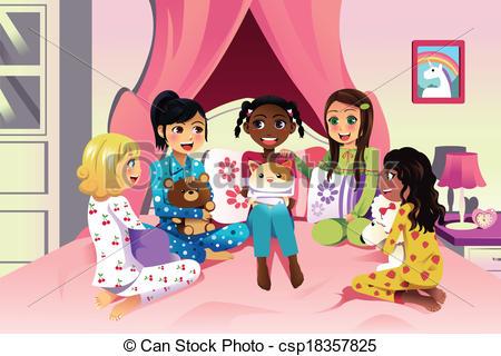 ... Girls Having A Sleepover - A Vector -... Girls having a sleepover - A vector illustration of multi.-6