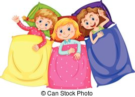... Girls In Pajamas At Slumber Party Il-... Girls in pajamas at slumber party illustration-3